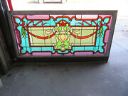 Big Antique Stained Glass Transom Window 2 Of 2 62 X 33 Salvage