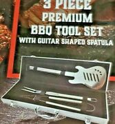 Hard Rock Cafe 3-piece Stainless Steel Barbeque Bbq Tool Set Guitar
