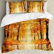 Autumn Duvet Cover Set With Pillow Shams Forest Lake Fall Trees 3d Digital Print
