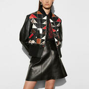 Coach Patchwork Shearling Ma1 Jacket Nwt 2295 Sz 8 Leather Bomber