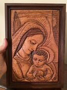 Madonna And Child- Framed Wood Carving-robert F Mcgovern - Antique - Two Sided