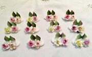 Staffordshire Crown Bone China Rose Place Card Holders 12 Pieces Rare