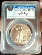 2017 W 50 Burnished Gold Eagle Moy Signed Denver First Day Of Issue Pcgs Sp70