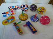 Lot Of 9 Vtg New Yearandrsquos Eve Noise Makers Metal Toy Kirchhof Usa Metal Mfg Co.
