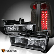 For 1988-1998 Chevy Gmc C/k C10 Truck Black Headlights+smoke Led Tail Lamps