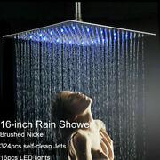 16-inch Led Square Shower Head Wall/ceiling Mounted Brushed Nickel Rain Sprayer
