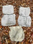 Four Vintage Us Mail Bag Heavy Canvas Antiqued Patina Tote Travel Carrier Bags