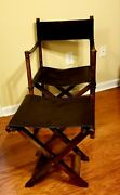 Leather Directors Chair With Footstool Folds Flat Solid Wood Frame New