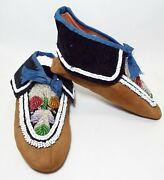 Pair Of Antique Native American Indian Leather And Beaded Moccasins Leaf Design