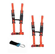 Pro Armor 4 Point Harness 2 Pads Seat Belt Pair + Bypass Orange Rzr Pro Xp All