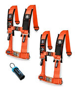 Pro Armor 4 Point Harness 3 Pads Seat Belt Pair Bypass Orange Rzr Pro Xp All
