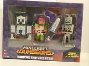 Minecraft Dungeons Adriene In Armor And Skeleton Figure Accessories Set Mojang New