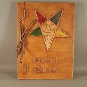 Unique Wood Guest Book Order Of The Eastern Star Pentagram Hinged Leather Tie