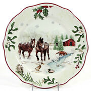 New Better Homes And Gardens Winter Forest - Horse 8.75 Salad Plate Heritage