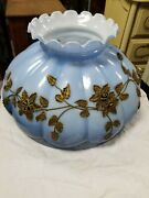 Hollywood Regency Gwtw Vintage Lamp Globe Shade Hand Painted Bronze Applied Blue
