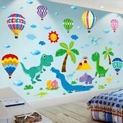 Wall Stickers Cartoon Dinosaur Animals Colorful Balloons Decals Home Decoration