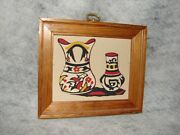 Glazed American Pueblo Pottery Art Picture Framed  Made Of Sand