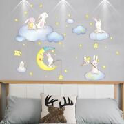 Rabbits Animals Wall Stickers Diy Clouds Stars Moon Decals Kids Room Decoration