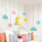 Cartoon Stars Wall Stickers Diy Moon Mural Decals Living Room Nursery Decoration
