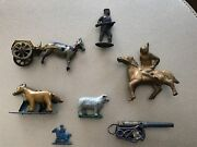 Vintage Lot Of Cast Iron And Tin Toy Parts Farm, Indian, Soldier And More
