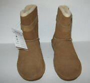 New In Box Bearpaw Tessa Brown Suede Leather Sheepskin Boots Size 9
