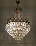 Antique Vintage Brass And Crystals Huge French Chandelier Lighting Ceiling Lamp