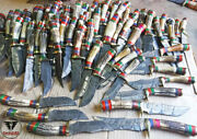 Handmade Damascus Steel Hunting Skinner Knife With Stage Horn Handle Lot Of 100
