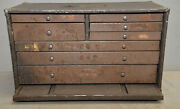 Rare 8 Drawer Machinist Jewelers Chest Collectible Watchmakers Parts Box Vintage