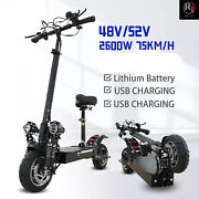2600w Dual Motors Electric Scooter Kick Scooter Adults Electric Skateboard 48v
