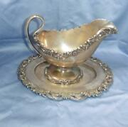 Antique Rare Shreve Co Sterling Silver Ornate Gravy/sauce Boat And Underplate