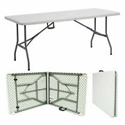 6ft Folding Trestle Table Portable Catering Camping Heavy Duty Picnic Bbq Party