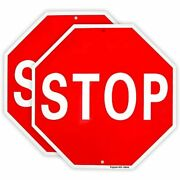 2 Pack Stop Sign Street Slow Warning Reflective Signs 12andquotx 40 Mil Rust Free