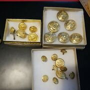 Waterbury And Wc 1812 Military Coat And Uniform Vintage 21 Goldtone Metal Buttons