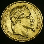 1863 France 20 Francs Gold Coin Napoleon Iii 0.1867 Oz Pure Gold