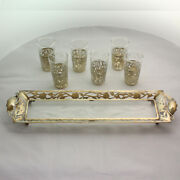 Vintage Mexican Sterling Silver And Etched Glass Shot Glasses With Tray - Signed