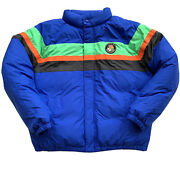 Polo Retro Striped Down Puffer Jacket Cookie Patch Skier Bomber Med
