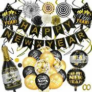 2021 Black Gold Happy New Years Eve Decorations Set, Happy New Year Banner Late