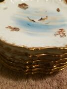 Ls And S Limoges Magnificent Gilt Sea Life Plates 6 Gold Trimmed Rims