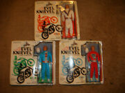 Rare 3 Set Evel Knievel Action Figure Doll ,white ,red ,blue Mint On Card Nrfb