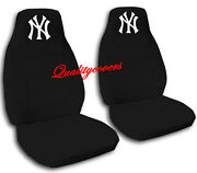 Universal Size Front Set Car Seat Covers Black With White Ny Design