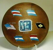 1960and039s Us Forceand039s In Dominican Republic Fip Oea Hanging Mahogany Wooden Plate