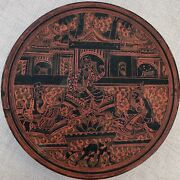 Antique Burma Betel Tray Red Lacquer Yun Decorated