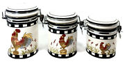 """Modern Farmhouse Ceramic Rooster Canisters Set 4.5""""w Kitchenware Black/white"""