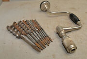 Stanley No 2101a 10 Ratchet Brace And 9 All Russell Jennings Drill Bits Lot S2