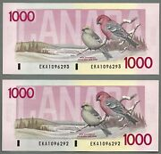 1988 Canada One Thousand Dollar Consecutive Serial Numbered Pair Of Bank Notes