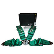 Takata 4 Point 3 Belt Harness Adjustable Body Seat Ring Green Snap On Strap