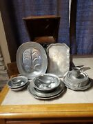 Wilton Columbia Pa Pewter Rwp Queen Anne Tavern Set 7 Bread Plates Nice