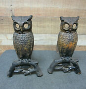 Vintage Early Cast Iron Fireplace Owl Andirons