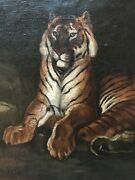 Vintage Antique Tiger Original Hand Painted Oil Painting Signed