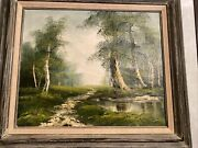 Signed C.holland Oil Painting Landscape Beautiful.